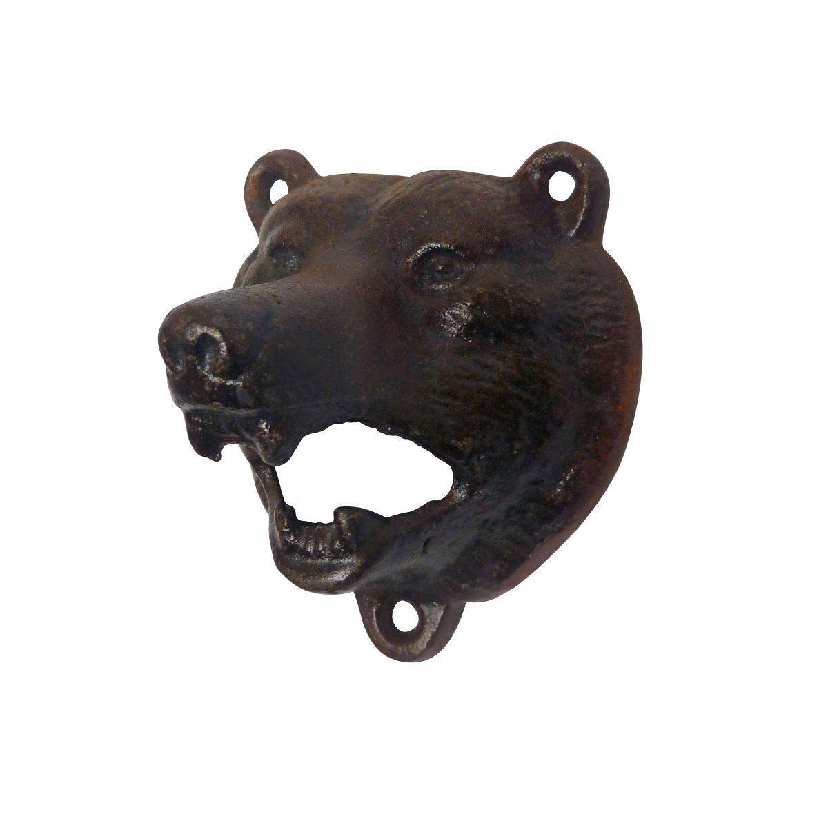 Cast Iron Wall Mount Grizzly Bear Teeth Bite Bottle Opener (Black) BOtt-012