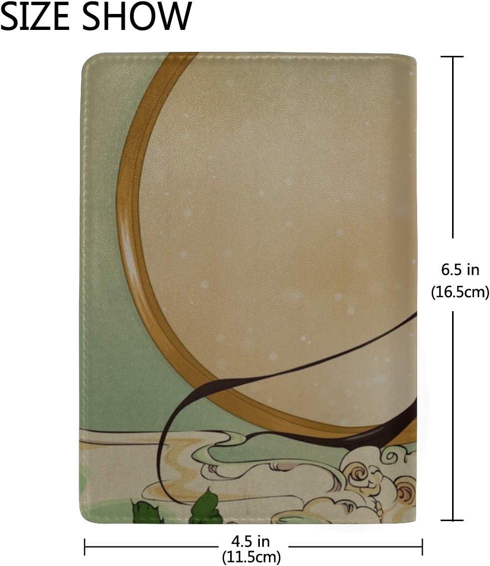 Girl Brunette Kimono Roses Needle Blood Leather Passport Holder Cover Case Travel One Pocket
