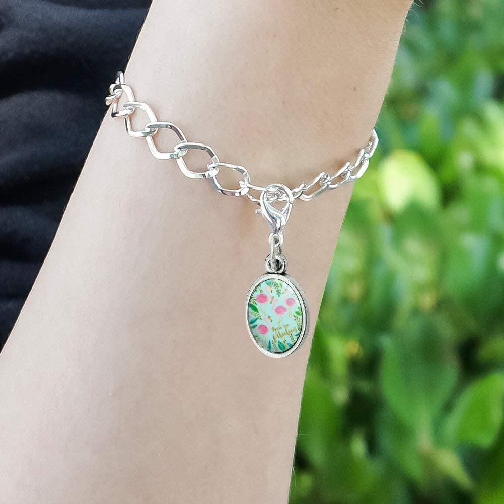 GRAPHICS /& MORE You are Fabulous Flamingos Princesses Crowns Antiqued Bracelet Pendant Zipper Pull Oval Charm with Lobster Clasp