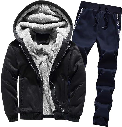 Hoodies Men Jacket and Pants Inner Fleece Casual Warm Hooded Thicken Sweatshirt