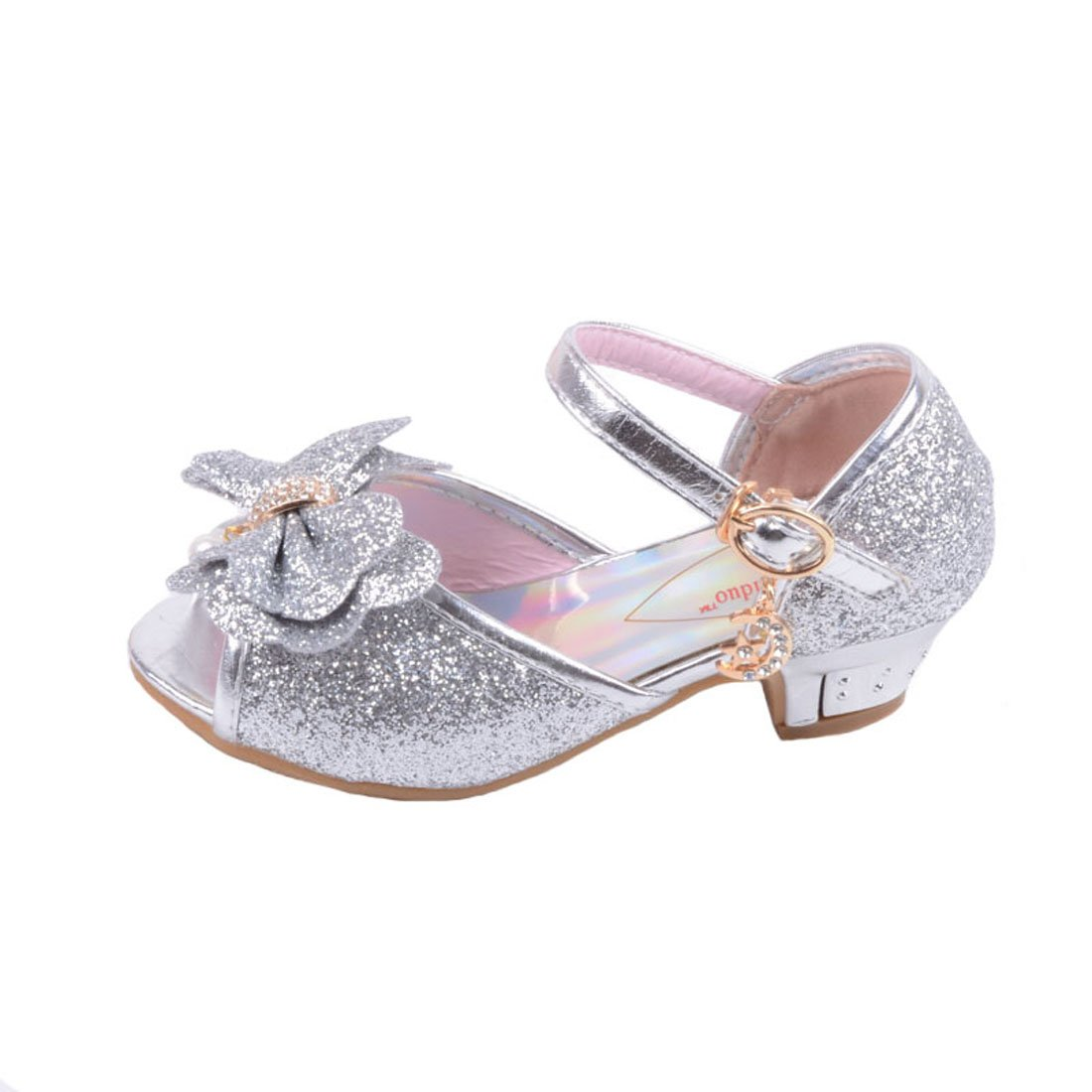 JTENGYAO Baby Girls Princess Shoes Glitter Dance Party Bridesmaids Low Heels Shoes Buckle Strap