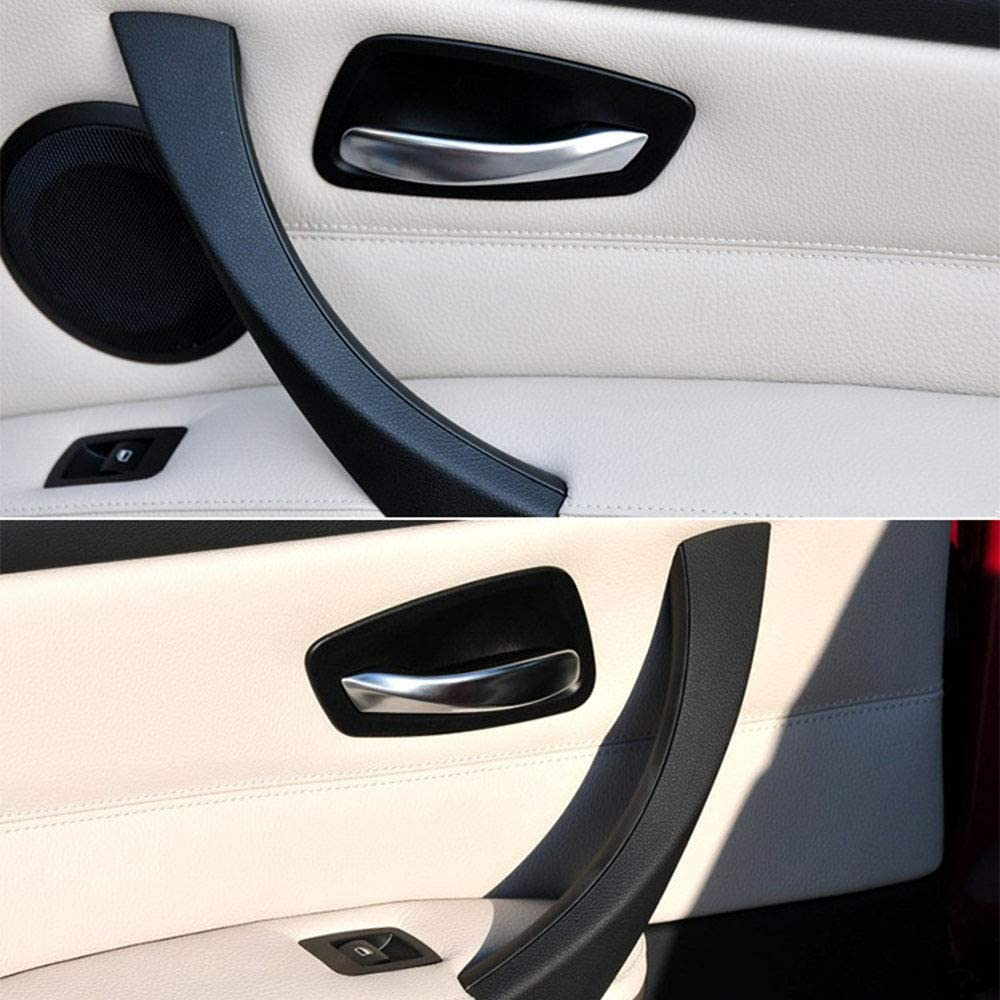 Cuque Car Inner Handle Right Interior Door Panel Pull Trim Cover for 3 Series Gray