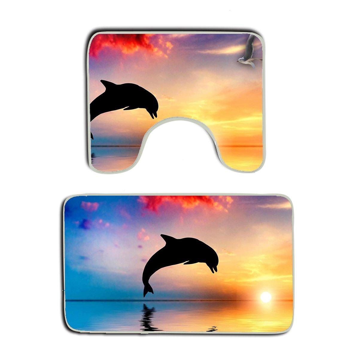 Summer Moon Fire Dolphins Jump Ocean Sunset Marine Animals Non Slip 2 Piece Bathroom Mat Pedestal Rug Bath Mat Customized Artwork Print