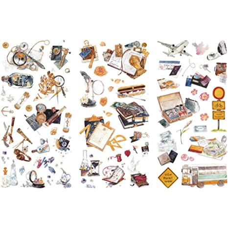 Kanggest. Pegatinas para Diario Papeleria y DIY Decoración para Scrapbooking Memo Ornamento Herramienta de Pasta de Material de Ilustración de Libro(3 ...