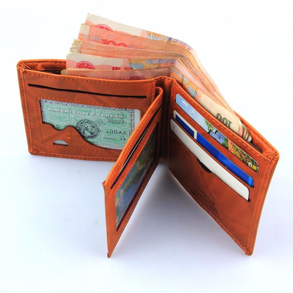 Mens Leather RFID Blocking Passcase Security Wallet Receipt Holder Organizer Bifold Wallet Purse