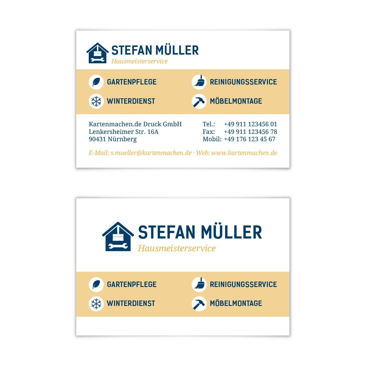 100 x Visitenkarten individuell Business Karten 300g/qm 85 x 55 mm - Hausmeister Kartenmachen.de