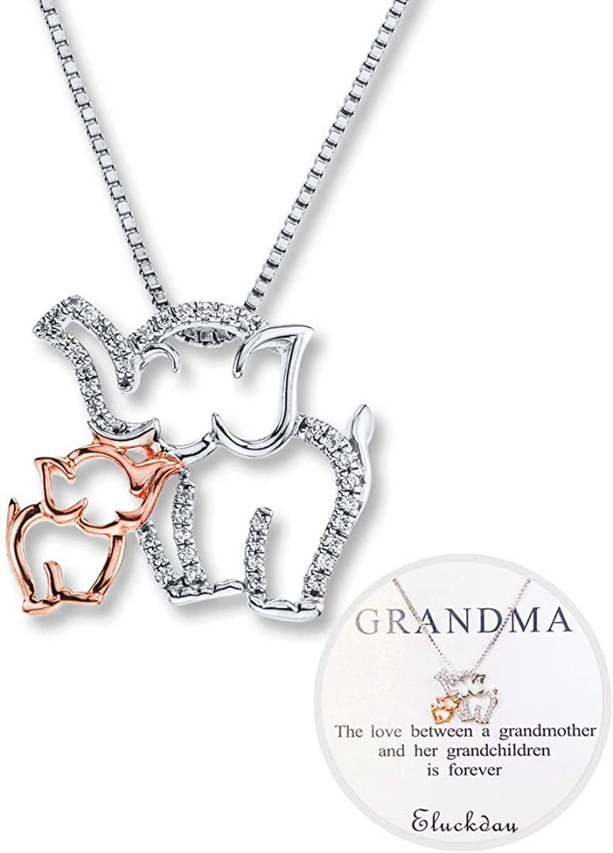 Elephant Necklace Elephant Jewelry Animal Jewelry Gift for Her Initial Necklace Personalized Jewelry Rose Gold Silver Necklace
