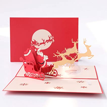 Wedding & Anniversary Bands 3d Pop Up Holiday Greeting Cards Santas Sleigh Deer Christmas Gift