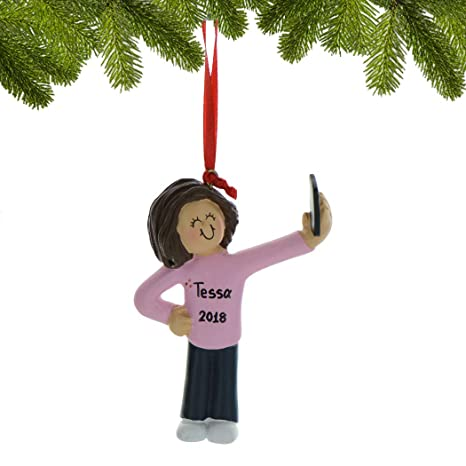 920adc44e0f860 Amazon.com: Personalized Selfie Girl Christmas Tree Ornament 2019 -  Brunette Teen Selfportrait Photo Smartphone Share Social Media  Grand-Daughter New Addict ...