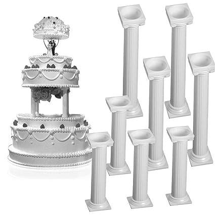 8pcs Set White Small Large Plastic Cake Pillars Wedding Cake