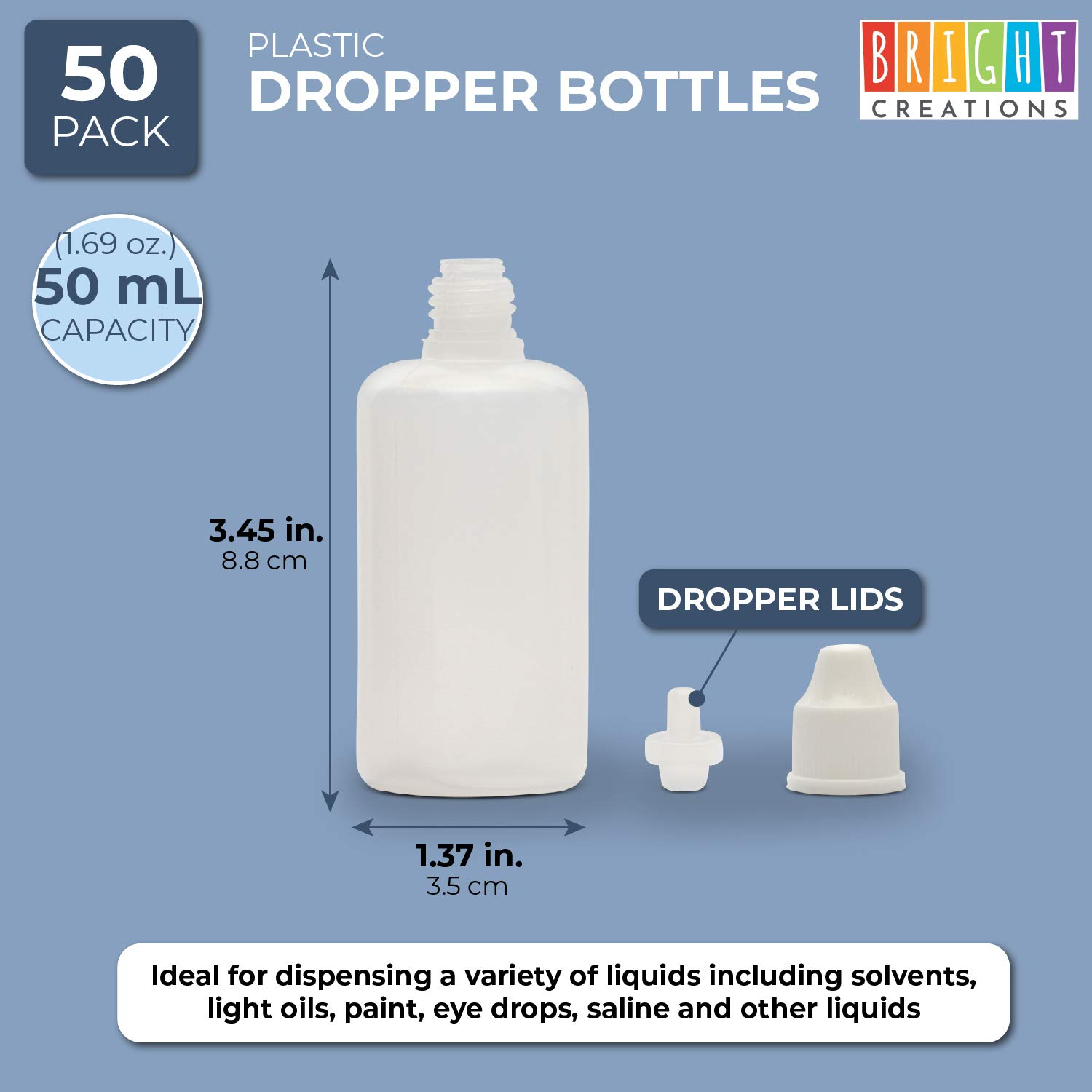 1.6 oz, White, PE, Pack of 50 Squeezable Dropper Bottles