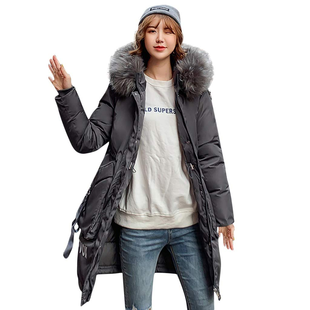 Opinionated Women's Winter Coat Thicken Outwear Puffer Coats with Removable Fur Hood Fashion Letter Printed Outerwear Gray by Opinionated
