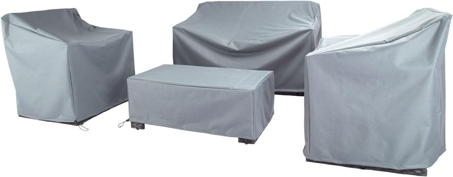 Baner Garden N87 4-Piece Outdoor Veranda Patio Garden Furniture Cover Set with Durable and Water Resistant Fabric (Grey)