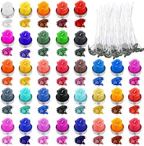 34 Colores de Tinte de Cera de Velas Tintes de Colores de Fabricación de Copos de Velas con 200 Mechas de Velas para DIY Materiales de Fabricación de ...