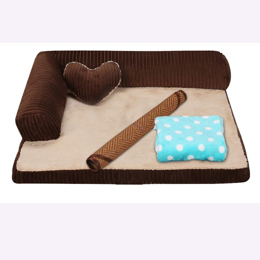 Brown3 S(55x45x15cm) Brown3 S(55x45x15cm) Pet Bed,Winter Keep Warm Washable Kennel, Pet Bed for Small Medium Large Dog (color   Brown3, Size   S(55x45x15cm))