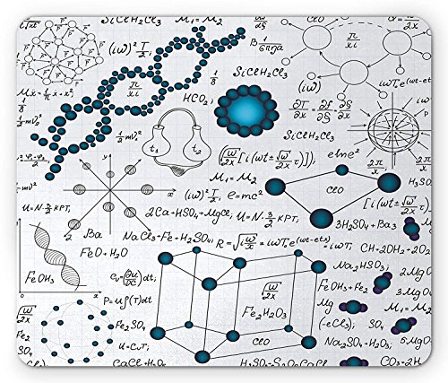 DREAM-S Abstract Mouse Pad, Science Physics DNA Molecule Formulas Atomic Chemical Analyses Display, Standard Size Rectangle Non-Slip Rubber Mousepad, Baby and Petrol Blue