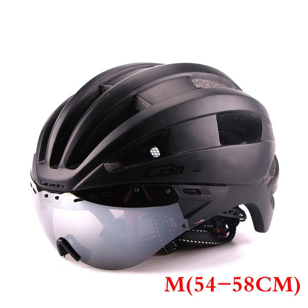 Karneho In-Mold Erwachsenen Fahrradhelm Racing Zeitfahrhelm mit Brille Ultraleicht EPS + PC M L 54-62Cm Fahrrad Objektiv Helme
