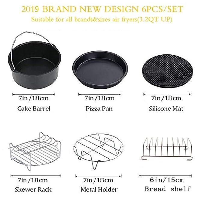 Accesorios para la freidora de aire, kits universales de accesorios, con la forma por el pastel/cacerola por la pizza/apoyo metálico/asador de ...