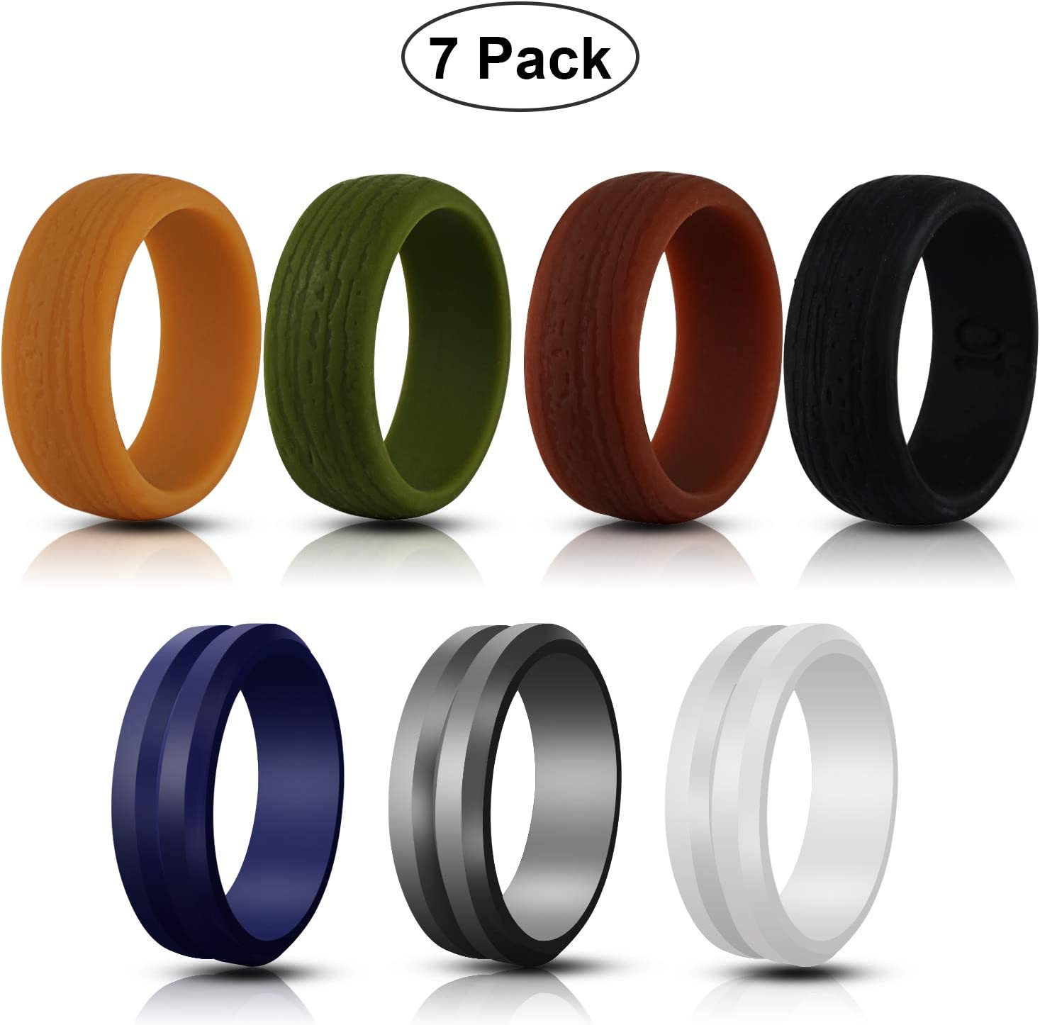 7 Pack Waterproof Breathable Mens Rubber Wedding Bands Ufanore Silicone Wedding Ring for Men Size 8 9 10 11 12 Wedding Rings for Crossfit Workout
