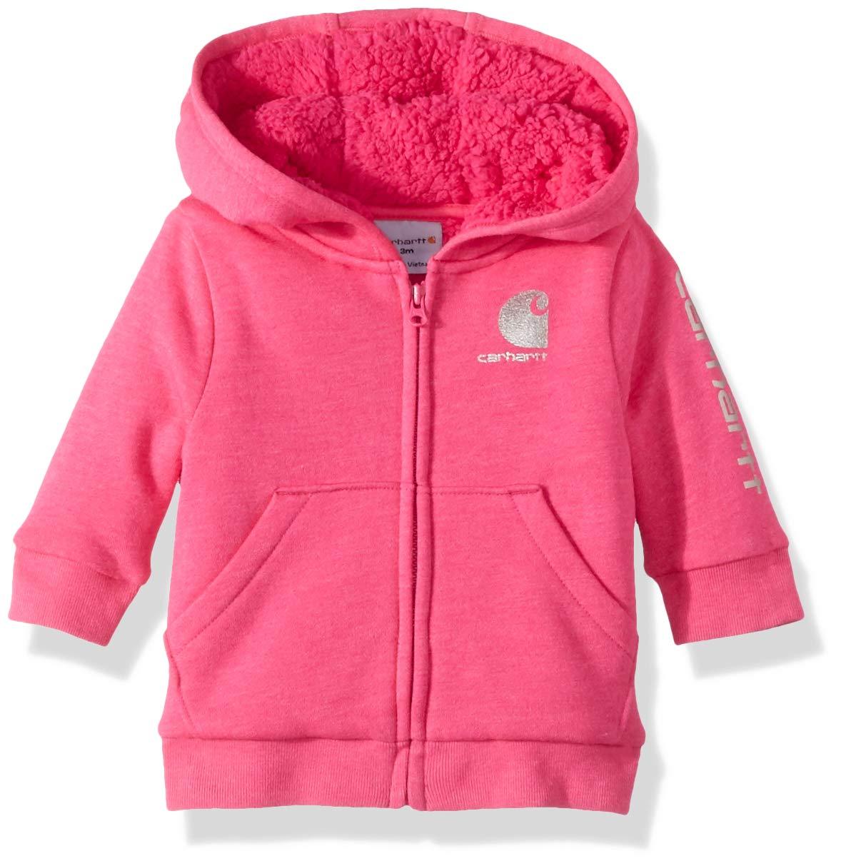Carhartt Baby Girls Heather Fleece Jacket, Fuchsia, 3M by Carhartt
