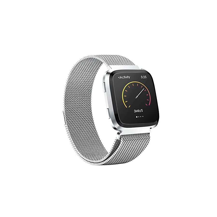 iGK Milanese Replacement Bands Compatible for Fitbit Versa, Stainless Steel Milanese Loop Metal Mesh Bracelet Unique Magnet Lock Wristbands