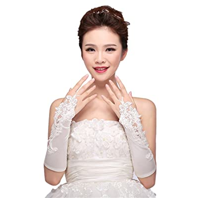 1paire de gants de mariée élasticité sans doigts Gants de mariée Dentelle Fleurs pour mariage Prom, Beige weiß, Taille unique
