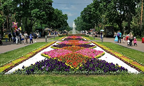 Home Comforts LAMINATED POSTER Fountain Flowers People Flower Bed Sky Trees Park Poster 24x16 Adhesive Decal by Home Comforts
