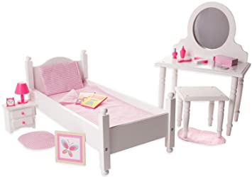18 Inch Doll Furniture Bed And Vanity Set W Accessories Playtime By Eimmie Collection