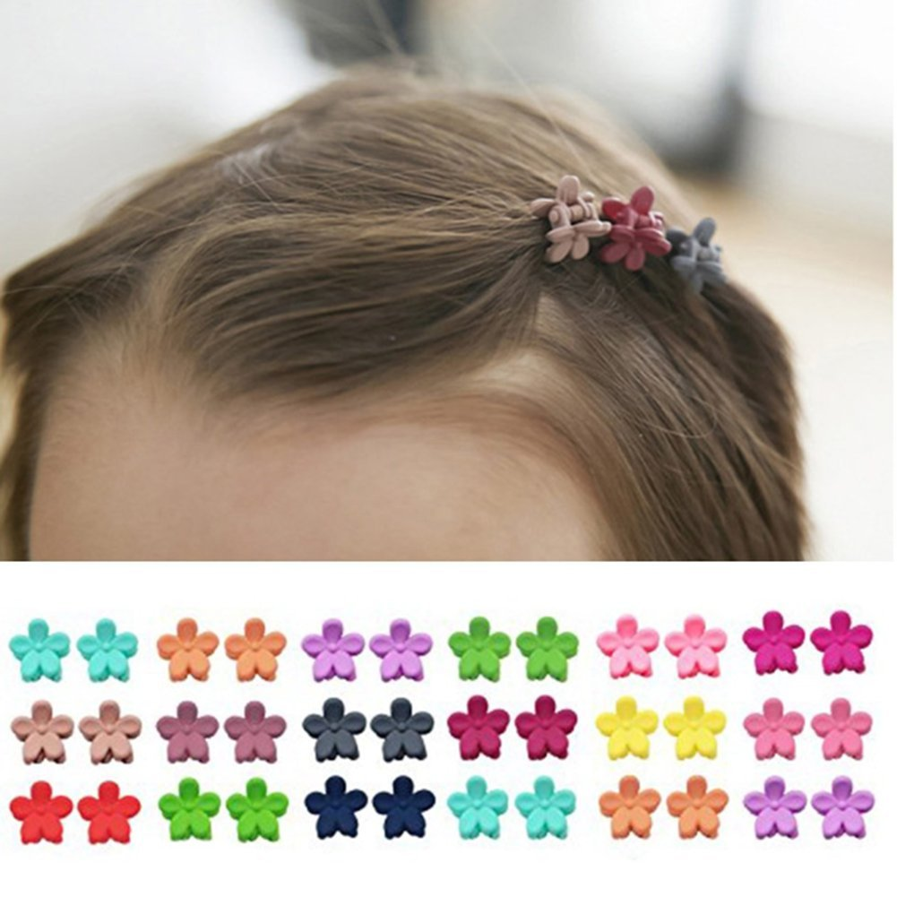 40pcs bangs mini hair claw clip Little Girls Flower Hair Pin Random Assorted colored Ruisen