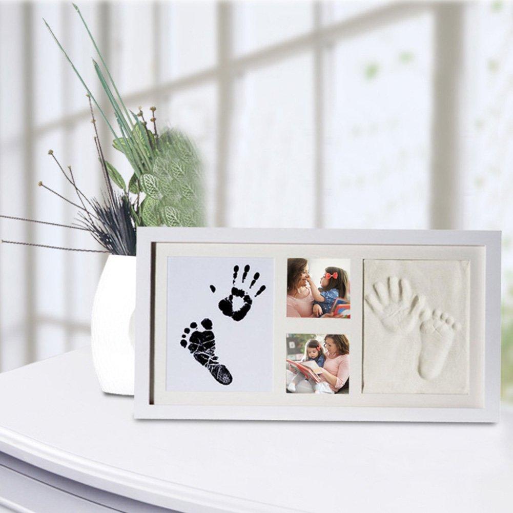 Tampon encreur Mod/èle mains de b/éb/é empreintes de pieds en bois Cadre photo Impressions DIY souvenirs Main et empreinte de b/éb/é Cadre photo kit dencre