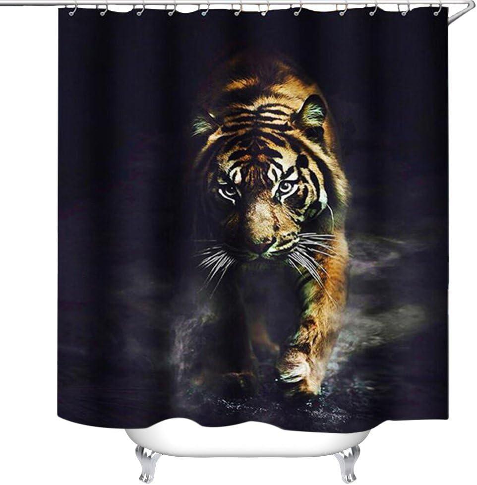 "waylongplus Wildlife Animal Nature Decor Tiger Bathroom Decor Polyester Fabric Shower Curtain, Plastic Shower Hooks Include (72""x72"")"