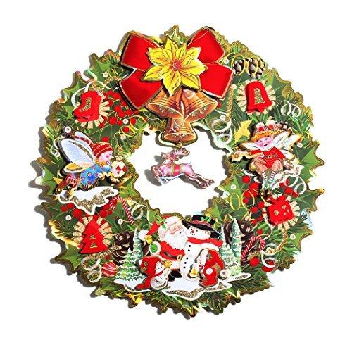 3d calcomanía decorativo para pared con muñeco de nieve, santa claus y para corona de Navidad Rudolph. 42,4cm Bienvenido...