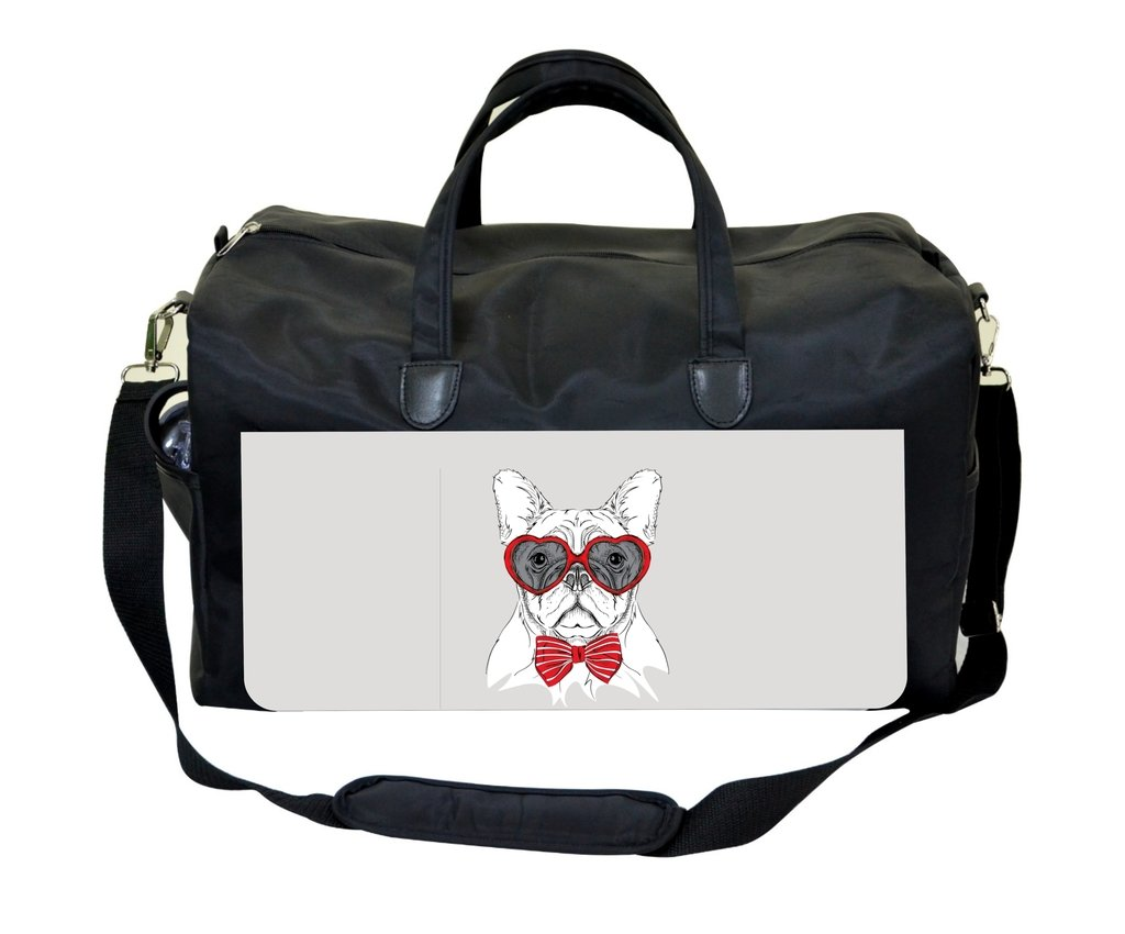 Bulldog Puppy in Heart Glasses Print PU Leather and Suede Weekender Bag