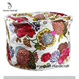 Indian Hippie Gypsy Bohemian Decor Living Room Vintage Kantha Quilt Seating Pouf Ottoman, Decorative Bohemian Ottoman, Cotton Round Pouf Foot Stool, Vintage Ottoman (Cover Only)