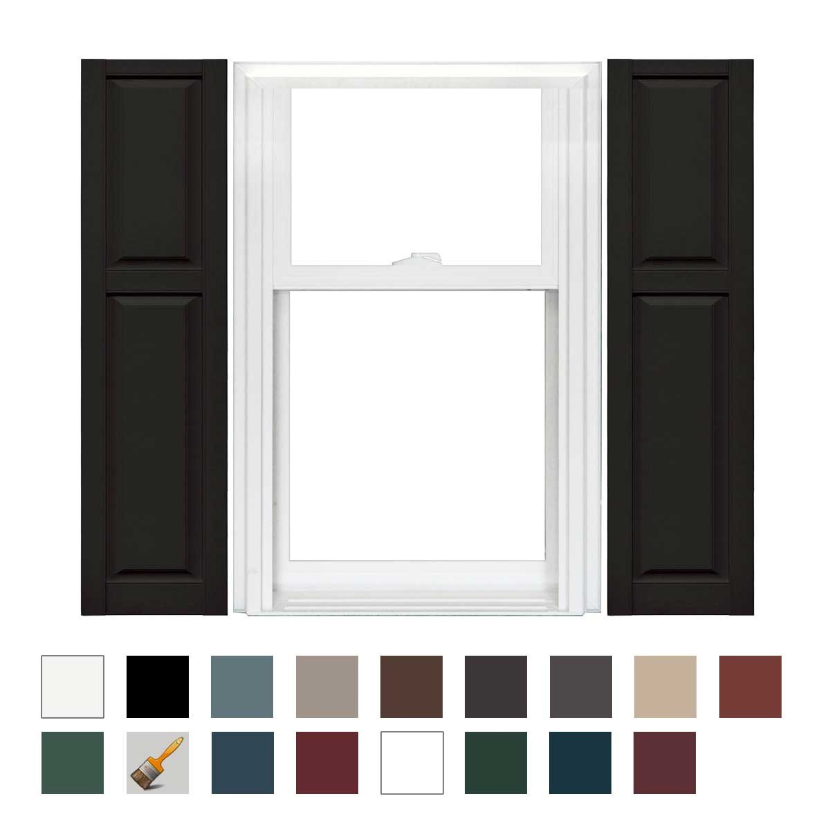 Mid America Williamsburg Vinyl Cottage Style Standard Shutter 67'' Long - 1 Pair (14-3/4in. 002 Black) by Mid America