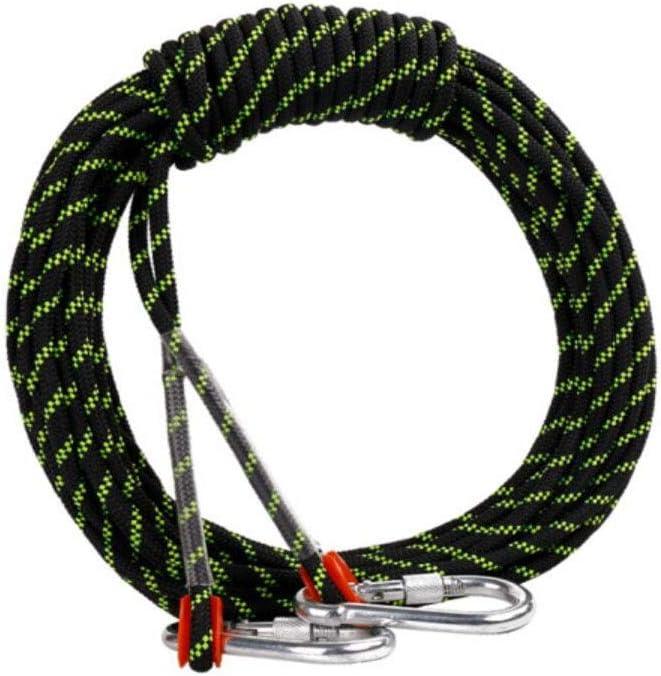 クライミングロープ、直径10.5 Mmアウトドアウォーキング用アクセサリー高強度ロープ安全ロープ(30 M) 黒 30m