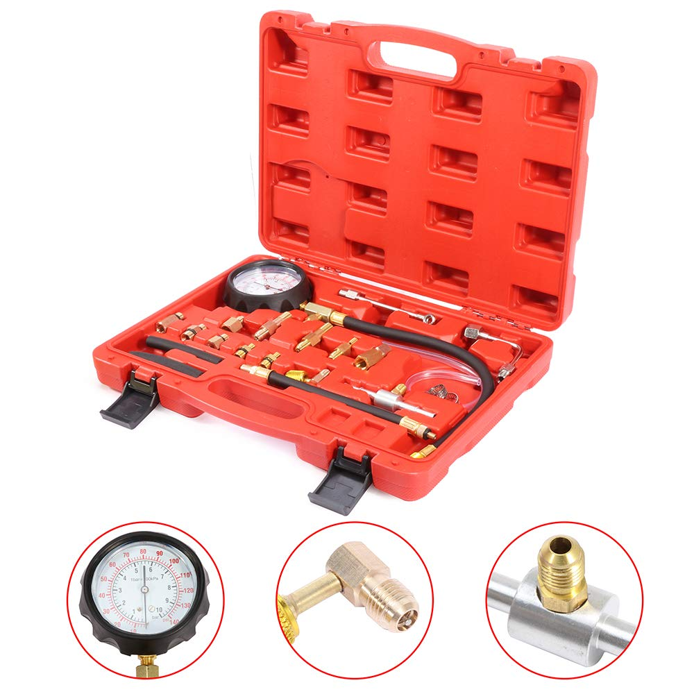 SCITOO Professional Fuel Injection Pressure Tester Kits Manometer Gauge System Test Kit