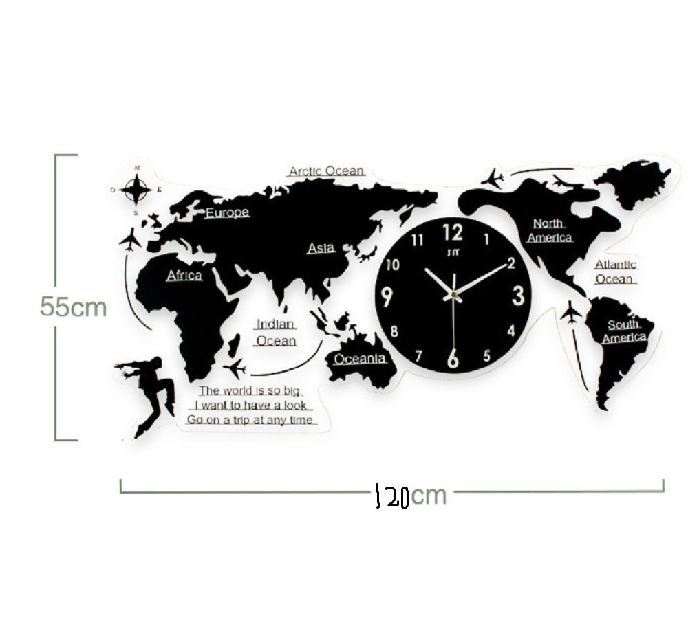 Amazon.com: Sulin DIY 3D Wall Clock Acrylic Wood DIY 3D World Map Five Continents Large,78Cm: Home Improvement