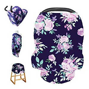 Stretchy Baby Carseat Cover with 4-in-1 Multi-use for Baby Carseat & Nursing/Versatile Breastfeeding Scarf & Stroller & Feeding high Chair Cover for Baby Girls by TIANNUOFA(Violet Flower)