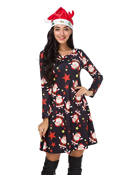 Christmas Dresses Womens.Womens Christmas Dress Long Sleeve Pullover Swing Flared Cocktail Party Dresses A Line Costume Ball Midi Dress