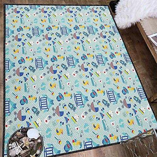 Baby Super Cozy Bathroom Rug Carpet,Newborn Sleep Crescent Moon Pacifier Nursery Star Polka Dots Image Provides Protection and Cushion for Floors Pale and Violet Blue Yellow 71