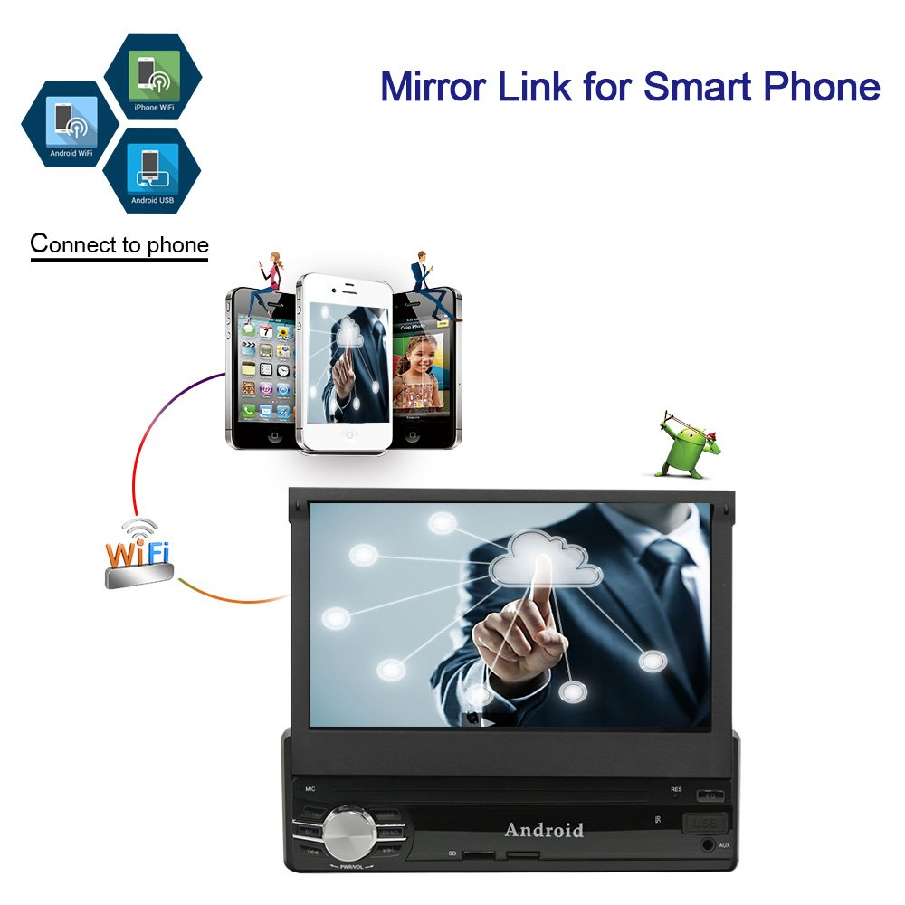 Ezonetronics Android 6.0 Quad Core Single Din Retractable Car Radio 7 inch Capacitive Touch Screen High Definition 1024x600 GPS Navigation USB SD Player 1G DDR3 16G NAND Memory Flash CT0013 Rhythm Electronics Limited RM-CT0013