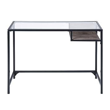 Tavolo In Legno Con Piano In Vetro.Aingoo Consolle Tavolo Con Piano In Vetro E Ripiano In Legno Moderno