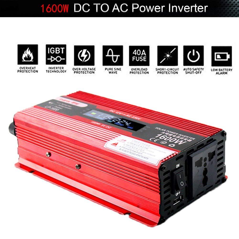 XBNBQ 1200W 1600W 2200W 2400W Inverter 12v 220v Onda Pura DC 12 V 24 V A AC 220~230 V 50 Hz Convertitore per Uso Domestico per Auto Lavatrice da Campeggio Rasoio Tipo accendisigari1600W-12V