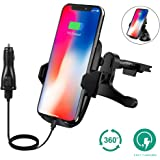 iPhone X Wireless Car Charger Phone Mount, NXET Vent Clip Cellphone Holder Handsfree Driving iphone 8/8 Plus and Samsung Glaxy Note 8/S8/S8 Plus and All Qi-Enabled Devices (Suction Mount)