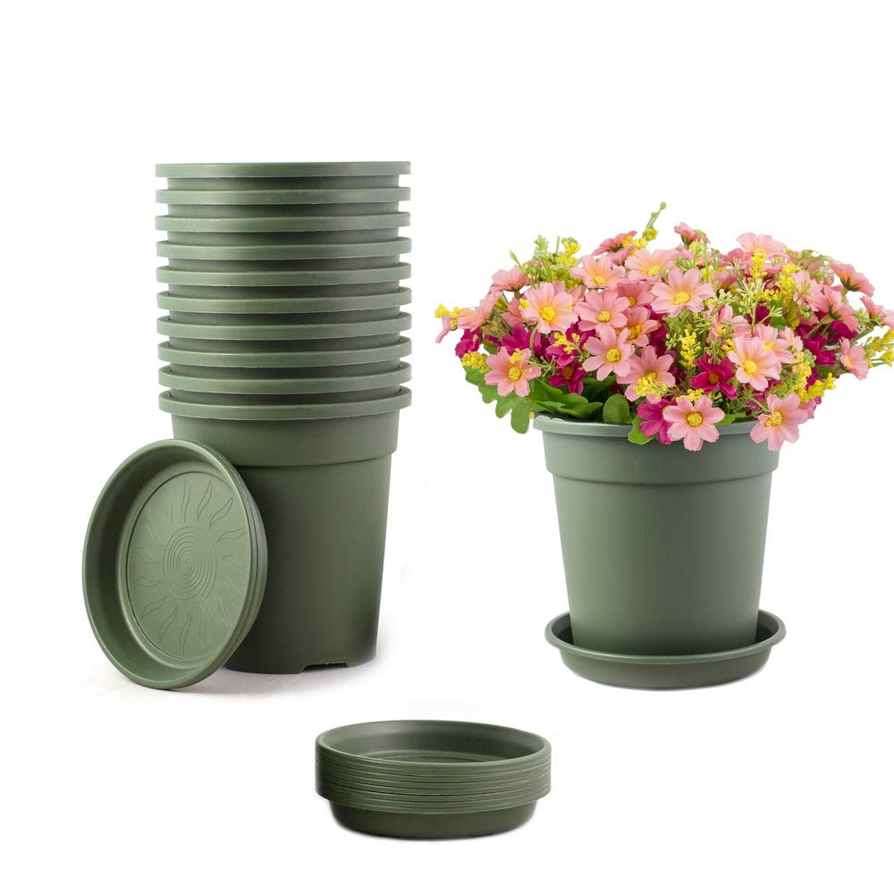 TRUEDAYS 10 PCS 1 Gallon Plastic Garden Flower Pots Seeding Plant Container Nursery Pot with Saucers Green