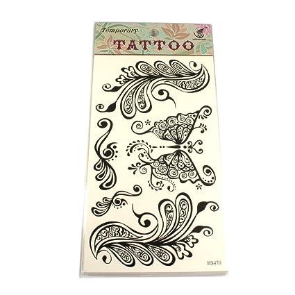 Tatuajes con mariposa negra y elementos florales: Amazon.es: Belleza