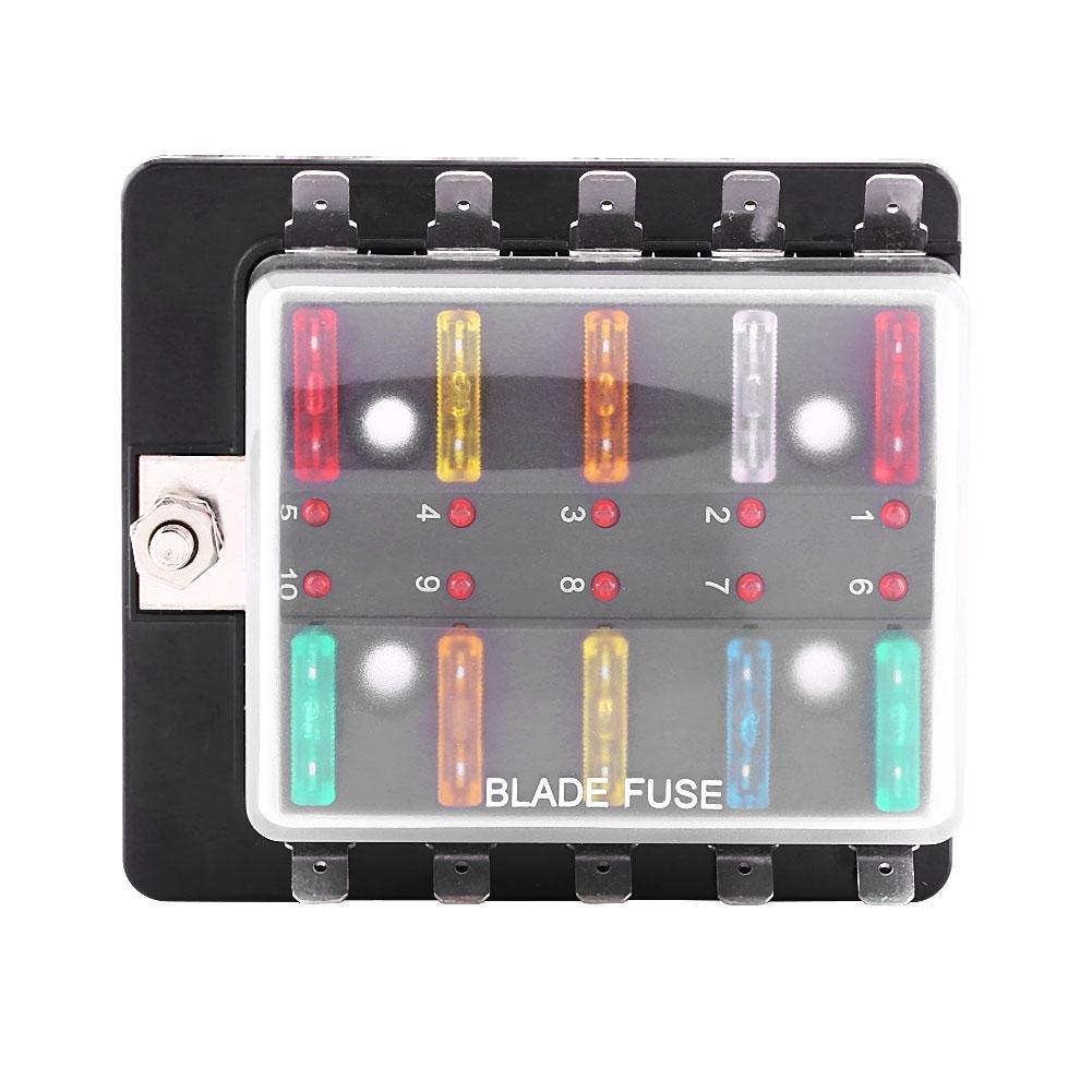 Caja de fusibles para automó vil, portafusibles de 10 ví as con luz indicadora portafusibles de 10 vías con luz indicadora Elerose