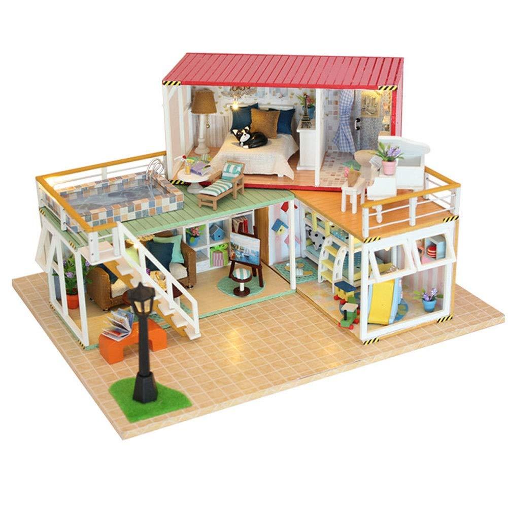 Evav Puppenhaus Miniatur DIY Haus Kit, Mini Holz Modellbau Spielzeug Freunde, Liebhaber und Familien (Ihr Name A)