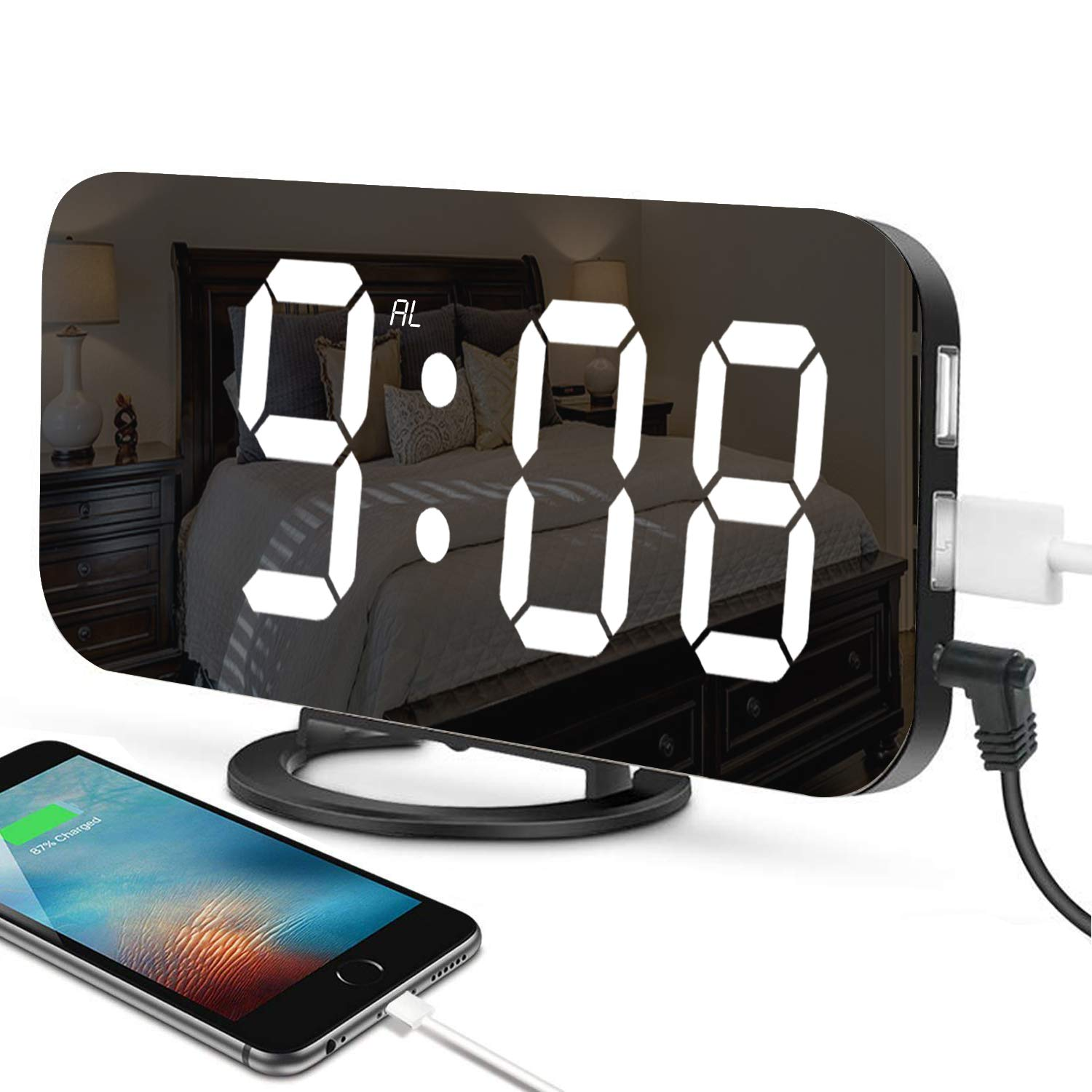 Alarm Clock, MJDUO Multifunction Led Digital Clock with Dual USB Port and Charger, 6.5
